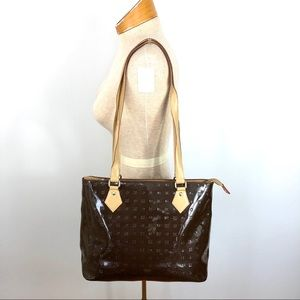 Arcadia brown patent Italian leather bag satchel